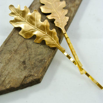 2 Luxe Golden Oak Leaves Bobby Pins Woodland Hair Pin  Woodland Wedding Fall/ Autumn Hair Accessories