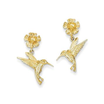 14k Yellow Gold Hummingbird Dangles from Flower Post Earrings