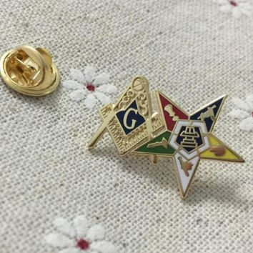 Order of the Eastern Star Patron Square and Compass Masonic Lapel Pin