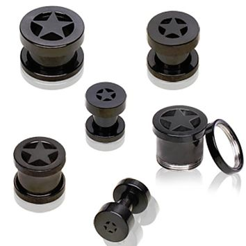 Black PVD Plated 316L Double Flared Screw Fit Flesh Tunnel Plug with Star
