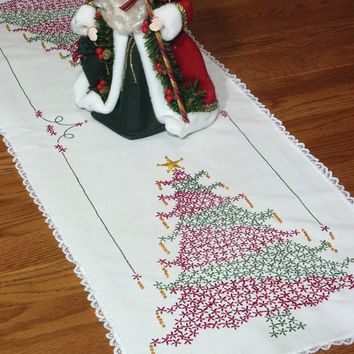 "Christmas Tree Stamped Lace Edge Table Runner 15""X42"""