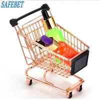 SAFEBET Brand Creative Metal Storage Basket Mini Supermarket Shopping Hand Basket Receiving Basket Creative Home Decor Basket