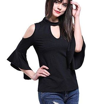Fancyqube Womens Bell Sleeve ColdShoulder VNeck Sexy Choker Blouse Tops