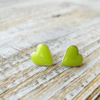 Summer green tiny studs hearts earrings Green yellow Hearts Jewelry