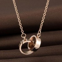 Kalete Screw with double ring pendant necklace of rose gold necklace""