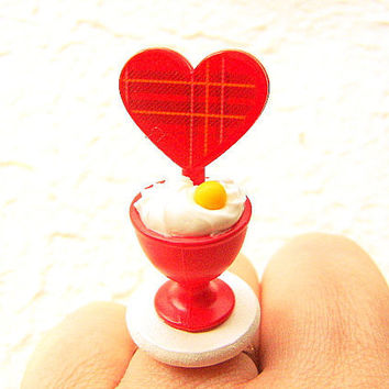 Kawaii Ice Cream Ring Red Heart Miniature Food Jewelry