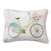 Sheringham Road Cabbage Rose Bike Dec Pillow - Ivory