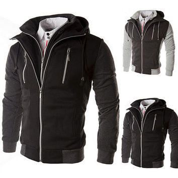 Double Collar Casual Techno Hoodie