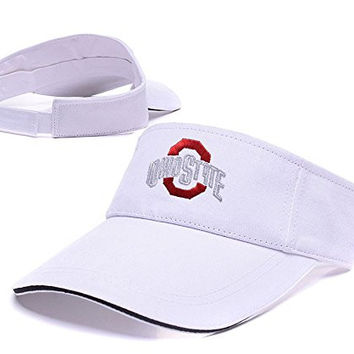 JIAQ Ohio State Buckeyes Logo Adjustable Visor Cap Embroidery Sun Hat Sports Visors White