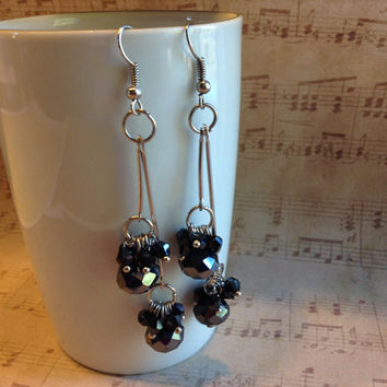 "Handmade Swingy Black & Silver Faceted Czech Crystal Rondelle and Bicone Beads 3-1/4"" (80mm) Long Double Dangle Earrings CHEP0001-BL USA"