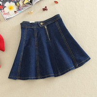 New Women's Pleated Denim Skirt