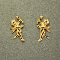 Gold Cherub Magnetic Earring