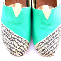 The Iris  Teal and Cream Custom TOMS by FruitfulFeet on Etsy