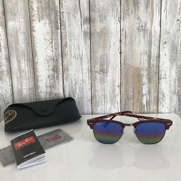 Ray Ban Clubmaster Sunglasses RB3016 1222 Bordeaux Burgundy Rainbow Mirror RARE*