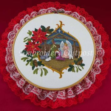 Nativity Stable Scene with Christmas Poinsettia Flowers - Embroidery Hoop Wall Art