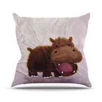 "Rachel Kokko ""The Happy Hippo"" Throw Pillow"