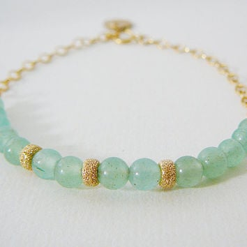 Dainty Bracelet, Green Aventurine Gemstone 14kt Gold Filled, Dangles, Layering, Friendship, Bridal Party Wedding