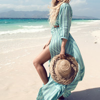 Island Boho Gown - Turquoise