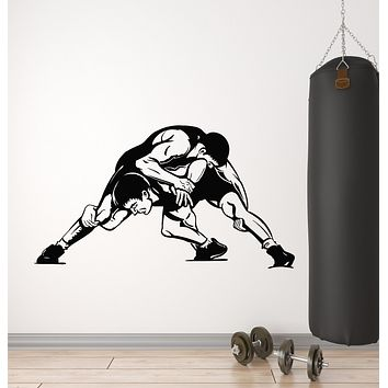 Vinyl Wall Decal Wrestling Martial Arts Wrestlers Fighting Club Fighters Sport Stickers Mural (g720)