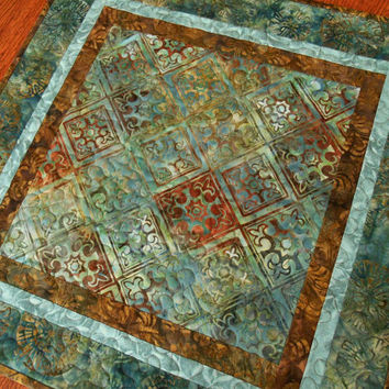 Batik Table Topper in Mediterranean Blues and Greens, Quilted Square Table Topper, Aqua Teal and Brown