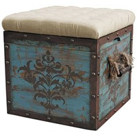 Teal Wood Crate Upholstered Ottoman - #2J141 | LampsPlus.com