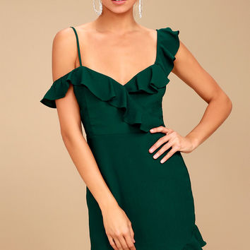 Myth Maker Forest Green Off-the-Shoulder Bodycon Dress