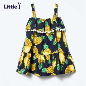 Little J Girls Dresses Pineapple Printed Summer Dress Girl Tutu Pompom Cotton Backless Dress Princess Girls Clothes Vestidos