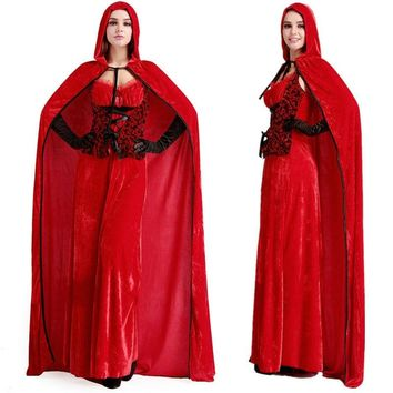 2015 Latest Sexy Little Red Riding Hood Adult Queen Costumes Cape Long Dress Fancy Princess Cosplay Dress For Halloween costume