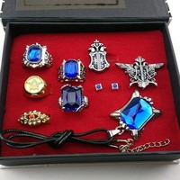 9pcs Black butler Kuroshitsuji Ciel Phantomhive Cosplay Rings+ Necklace+Ear-nail earring studs Jewelry Set