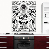 Wall Decal Cup Of Hot Coffee Stickers for Coffee House Decor Kitchen DA3818