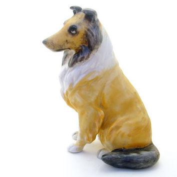 Vintage Dog Figurine Ceramic Porcelain Sheltie by mysweetiepiepie