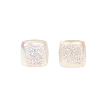 Pearly White Druzy Stud Earrings