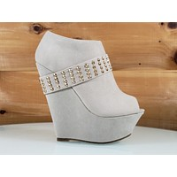 Mona Mia Alexa Nude High Heel Platform Wedge Studded Band Ankle Boot Shoes 6-10