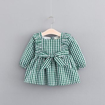 Autumn Baby Girls Vintage Plaid Print Long Sleeve O Neck Princess Bow Party Kids Tutu Dress Infant Clothes vestido infantil