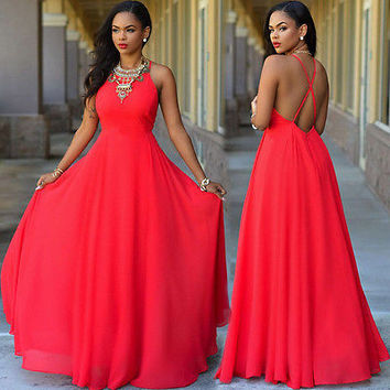 2016 Women Convertible Infinity Long Maxi Dress Bridesmaid Solid O-Neck Backless Casual Dress