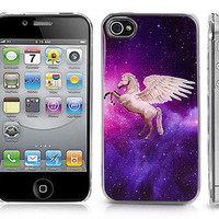 Transparent Snap-On Clear iPhone Case for 4/4S iPhone - Space Galaxy w/ Unicorn