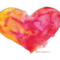 Watercolor Vibrant Heart Valentine's Day Card