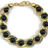1980's Gold Tone Link Bracelet With Black Beads