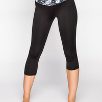 Full Tilt Sport Floral Waistband Womens Capri Leggings Black/White  In Sizes