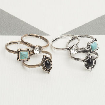 3 Piece Stone Ring Set