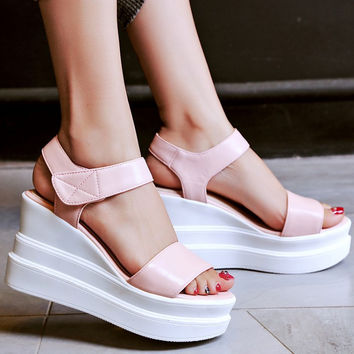 Stylish Design Summer Wedge Thick Crust Korean High Heel Ladies Sandals [4920245636]