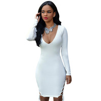 Womens Sexy Dresses Party Night Club Dress vestido robe femme Long Sleeve Bandage Bodycon Dress