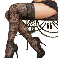 Plus Size Printed Thigh High Fishnet Stockings with Lace Toppers