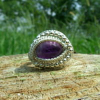 Wire Wrap Ring Purple Amethyst 925 Sterling Silver Size 5 Handmade Heady February Birthstone