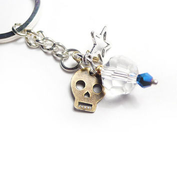 Skull Charm Keychain with Faceted Glass Bead & Star - Keyring with Charms - Nyckelring med Dödskalle och Kristaller