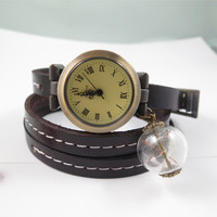 Dark Brown Leather watch,three lap wrist Wrap watch,Dandelion watch,ladies watch, girls watch, woman watch, make a wish, bracelet watch