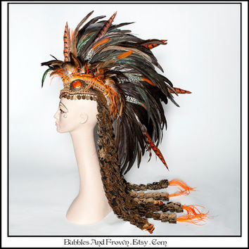 Hoot Hoot..... Earthy Orange Feather Mohawk with Deconstructed Tapestry Train