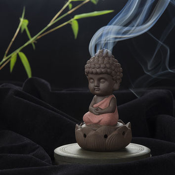 Creative Zen Cone Coil Incense Burner Holder Lotus Plate Home Decor living Room Furnace Decoration Ornament Tathagata Buddha