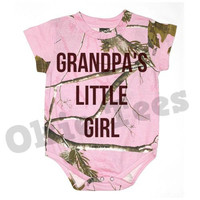 Grandpa's Little Girl - Pink Realtree Camo Infant Bodysuit -Baby Onesuit - Creeper