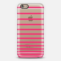 Pink Ombre Stripes Transparent iPhone 6 case by Organic Saturation | Casetify